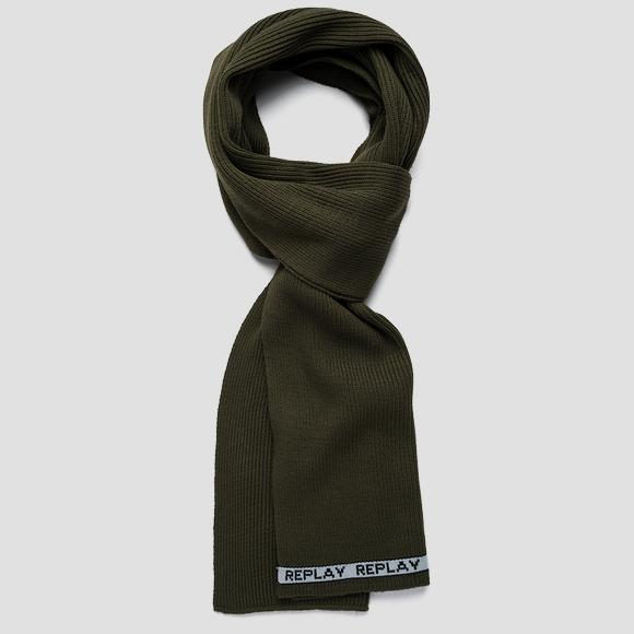 Ribbed scarf with contrasting-coloured outline - Replay AM9228_000_A7003_406_1