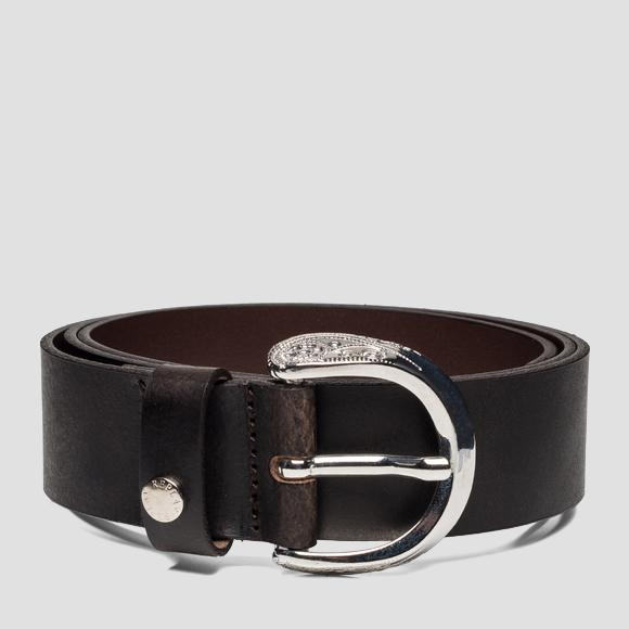 Belt in solid-coloured brushed leather - Replay AW2441_001_A3001_128_1
