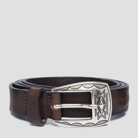 Vintage leather belt with buckle - Replay AW2526_000_A3077_117_1