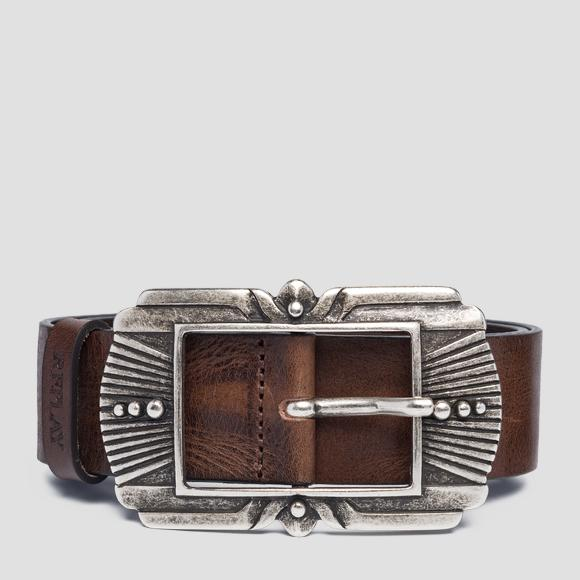 Leather belt with engraved buckle - Replay AW2529_000_A3007_117_1