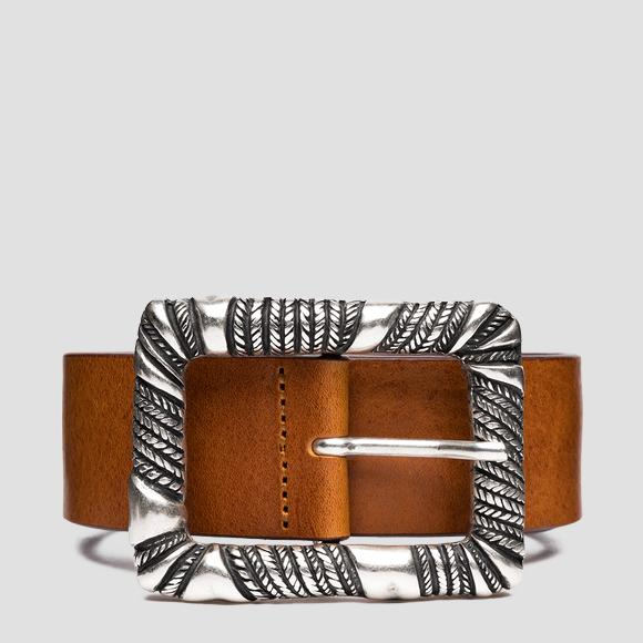 Leather belt with weaved buckle - Replay AW2559_000_A3007_090_1