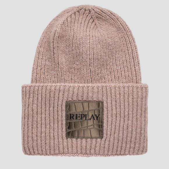 Knitted beanie with turn-up - Replay AW4245_001_A7092_233_1