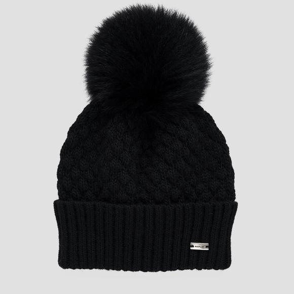 Quilted beanie with pom-pom - Replay AW4266_000_A7040G_098_1