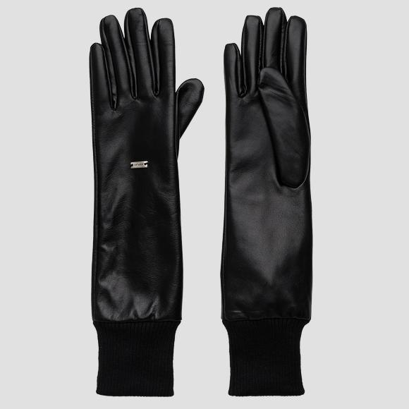 REPLAY long gloves in leather - Replay AW6074_000_A3190_098_1