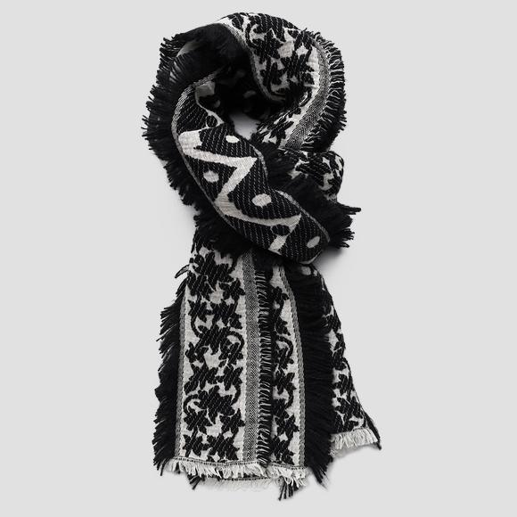 Fringed jacquard scarf - Replay AW9247_000_A0226A_1214_1