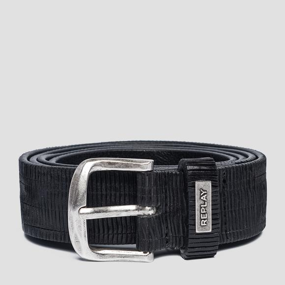 Engraved leather belt - Replay AX2247_000_A3114_098_1