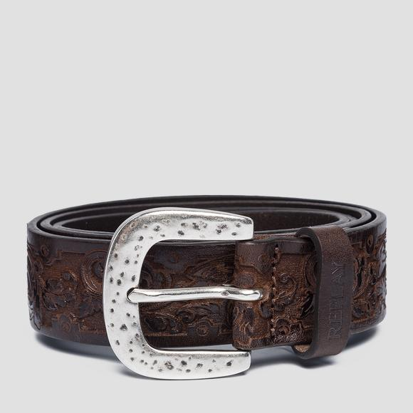 Engraved leather belt - Replay AX2248_000_A3007_127_1