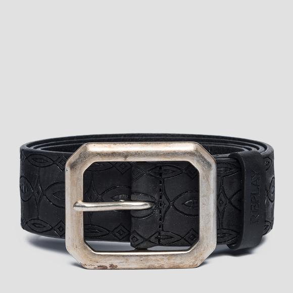 Leather belt with ethnic engravings - Replay AX2250_000_A3007_098_1