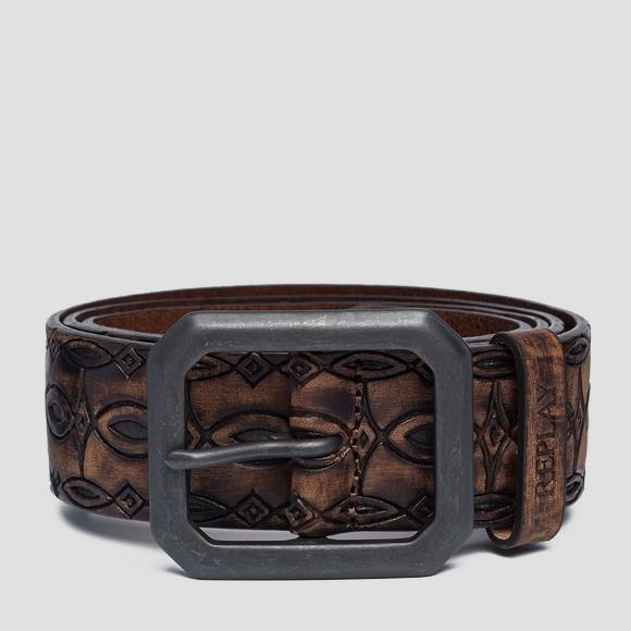 Leather belt with ethnic engravings - Replay AX2250_000_A3007_117_1