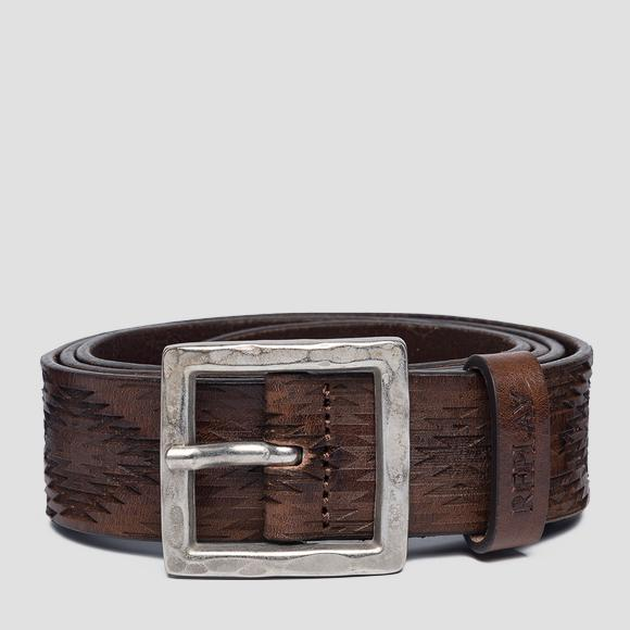 Unisex Leather belt with geometrical engravings - Replay AX2252_000_A3007_117_1