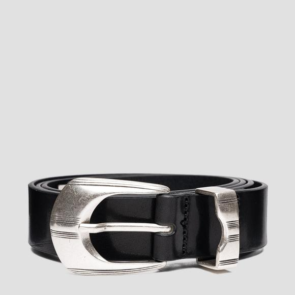 Smooth leather belt with patterned details - Replay AX2264_000_A3007_098_1