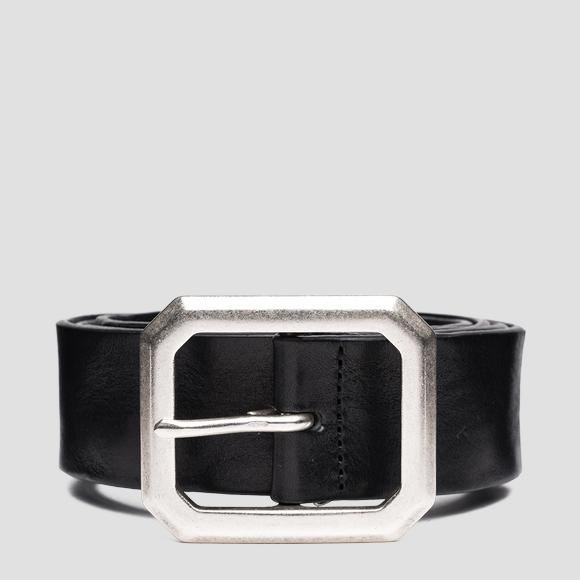 Leather belt with octagonal buckle - Replay AX2265_000_A3007_098_1