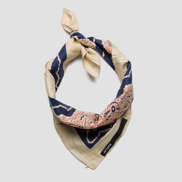 Cotton scarf with arabesque print - Replay AX9223_000_A0068H_1335_1