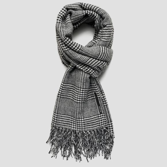 Wool blend scarf with glen plaid pattern - Replay AX9239_000_A0359_1214_1