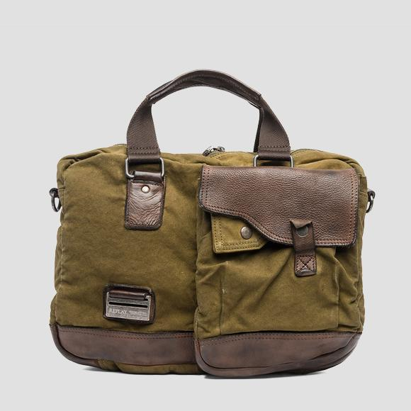 Canvas and leather handbag - Replay FM3326_000_A0077A_402_1