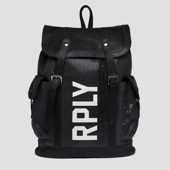 Backpack in leather and waxed cotton - Replay FM3421_000_A0396_098_1