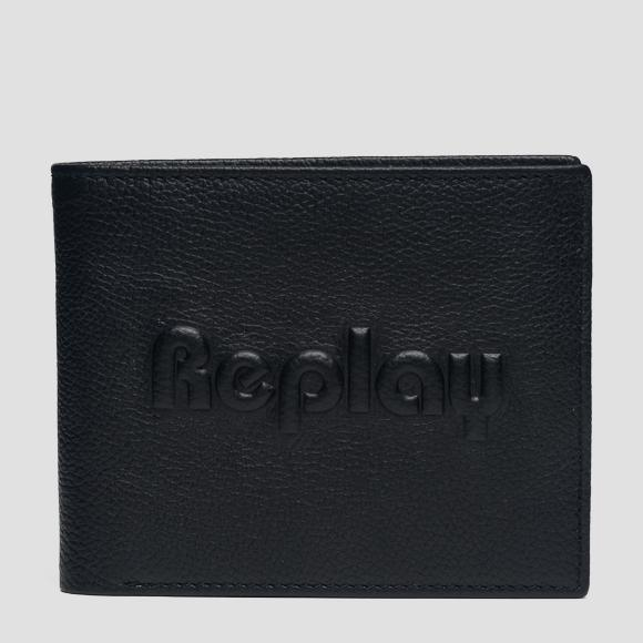 Leather wallet with embossed logo - Replay FM5176_000_A3078A_098_1