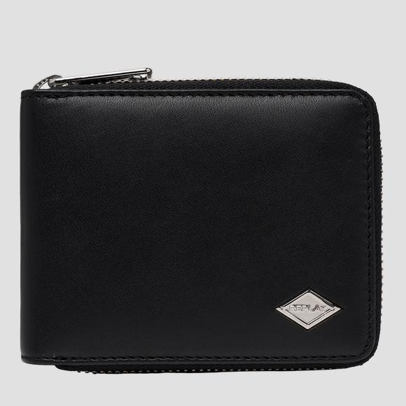 Smooth leather wallet with zipper - Replay FM5240_000_A3063_098_1
