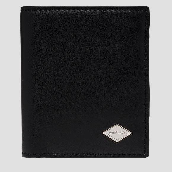 Smooth leather wallet with button - Replay FM5244_000_A3063_098_1