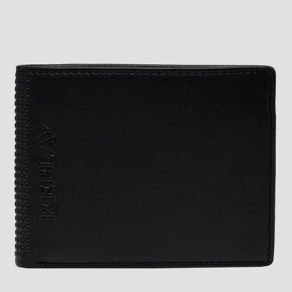 Leather wallet with embossed edge - Replay FM5245_000_A3063_098_1