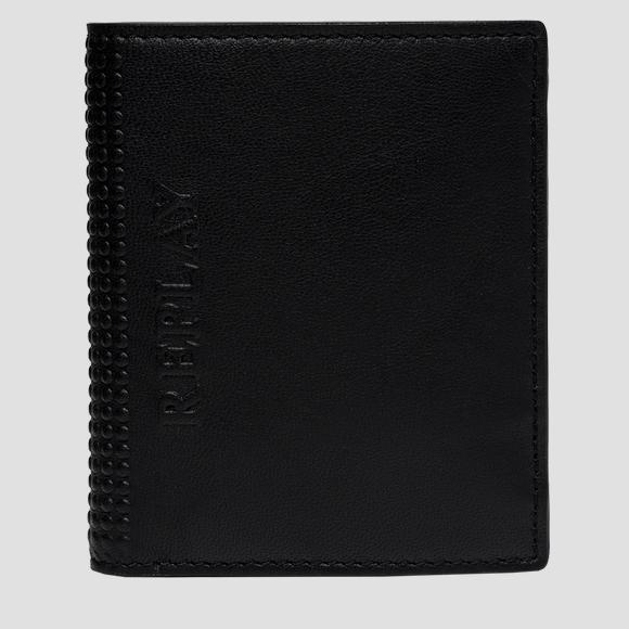 Hammered leather wallet with button - Replay FM5248_000_A3063_098_1