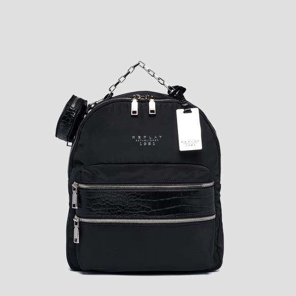 Recycled poly backpack with croc print details - Replay FW3181_000_A0441_098_1