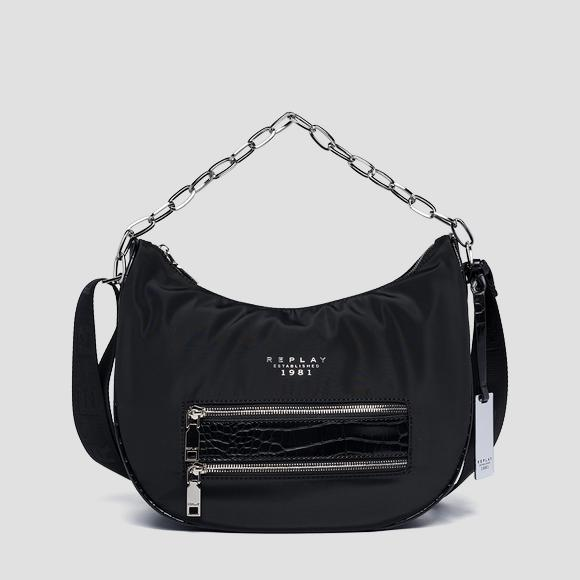 Recycled poly shoulder bag with croc print details - Replay FW3182_000_A0441_098_1
