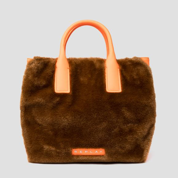 REPLAY eco-fur shopper with fluo detailings - Replay FW3222_000_A0258_192_1