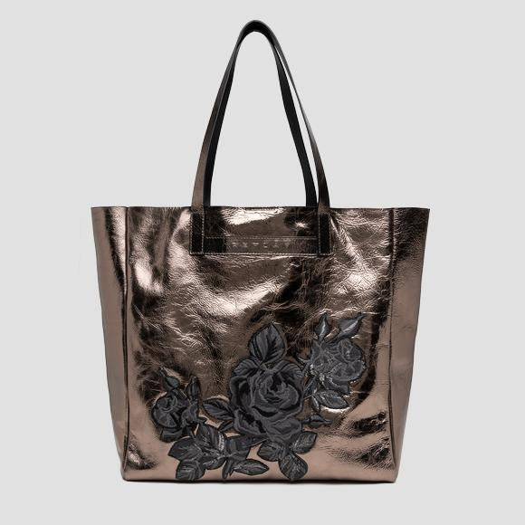 ROSE LABEL shopper in laminated leather - Replay FW3228_000_A3120C_096_1