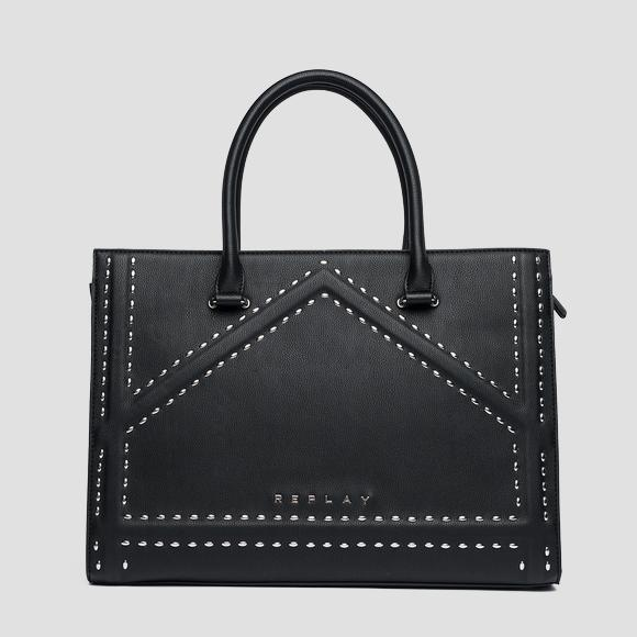Shopper bag with metal appliques - Replay FW3812_000_A0363_098_1