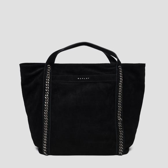 Shopper bag in suede with chains - Replay FW3836_010_A3154_098_1
