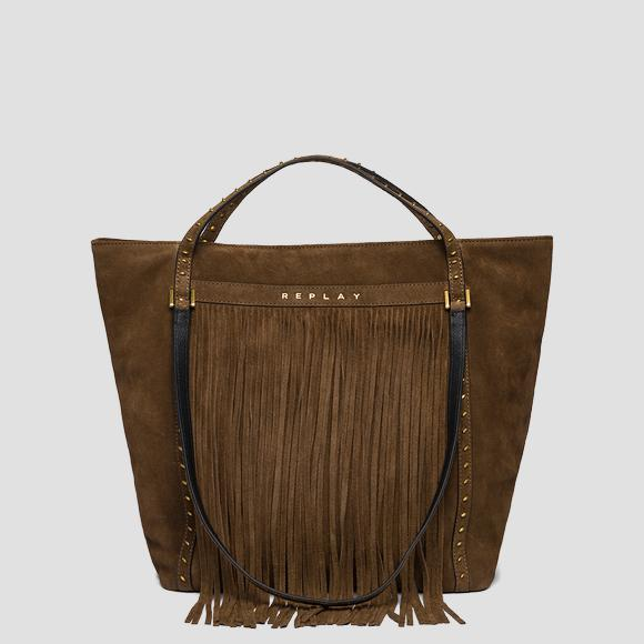 Suede shoulder bag with fringes - Replay FW3836_016_A3154_059_1