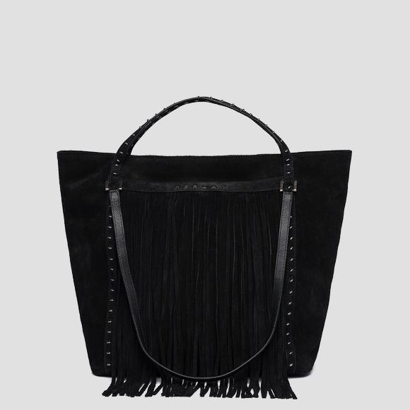 Suede shoulder bag with fringes - Replay FW3836_016_A3154_098_1
