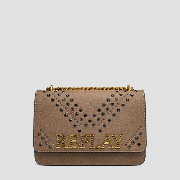 Canvas shoulder bag with studs - Replay FW3910_005_A0060_081_1