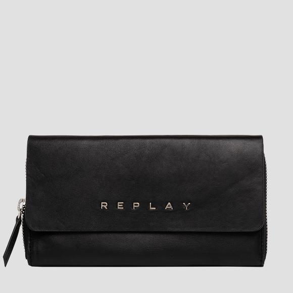 Leather wallet with shoulder strap - Replay FW5266_000_A3187_098_1