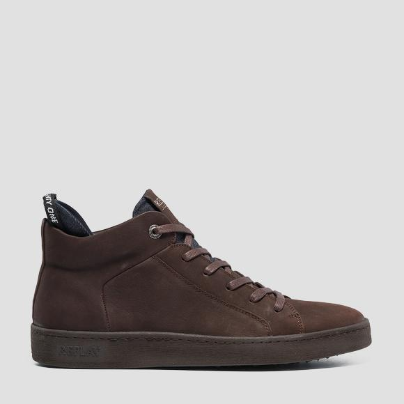 Men's BRIGHTOON lace up mid cut leather sneakers - Replay GMZ52_000_C0026L_018_1