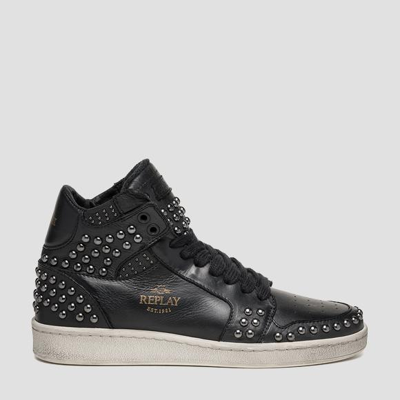 Women's WEBSTER lace up mid cut leather sneakers GWZ3I_000_C0004L_003_1