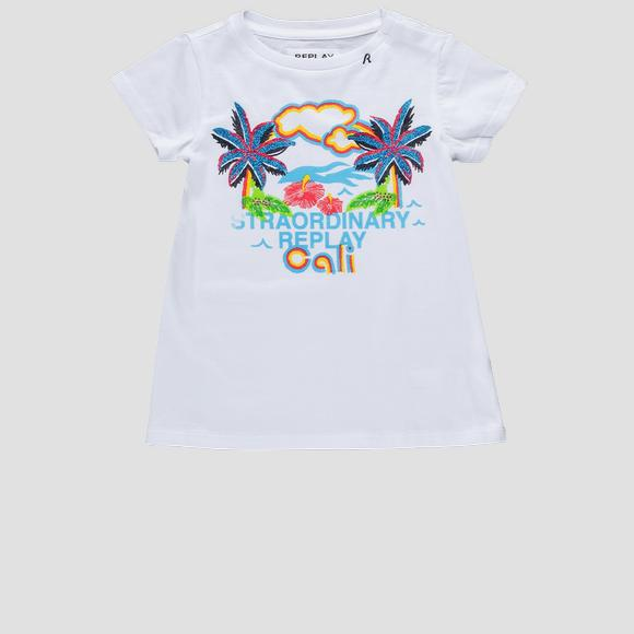T-shirt with glitter Cali print- REPLAY&SONS PG3179_051_22038P_001_1