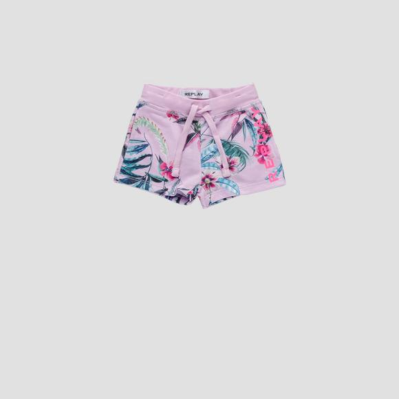 Fleece short pants with floral print- REPLAY&SONS PG9590_050_29868KI_699_1