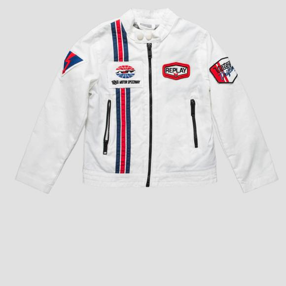 Biker jacket with contrasting-coloured stripes- REPLAY&SONS SB8161_050_80107_011_1