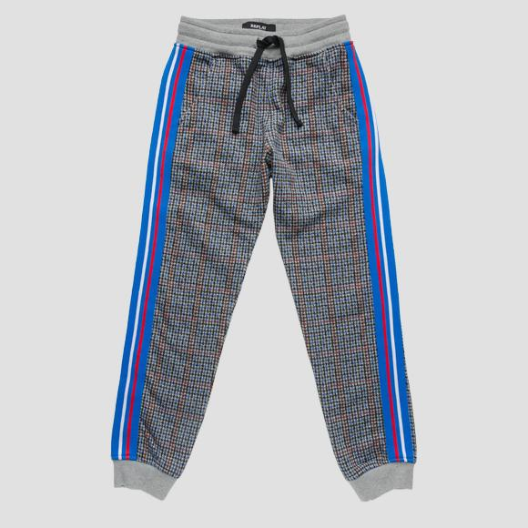Checked trousers with side stripes- REPLAY&SONS SB9012_050_20372KJ_010_1
