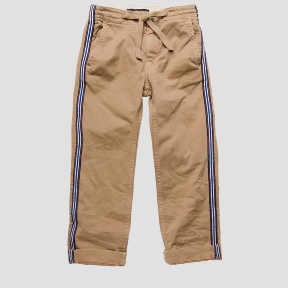 Slim fit cotton trousers with stripes- REPLAY&SONS SB9371_050_8551S42_215_1