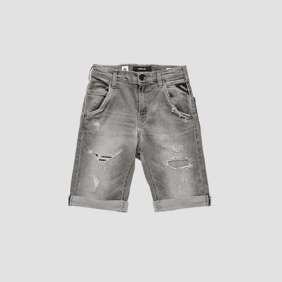 Slim fit low crotch denim bermuda shorts- REPLAY&SONS SB9628_054_249-345_001_1
