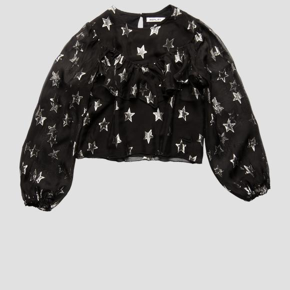 Crop shirt with all-over lurex stars- REPLAY&SONS SG1068_050_83912_098_1