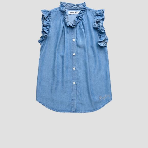 Sleeveless shirt with ruffles- REPLAY&SONS SG1711_050_50103_001_1