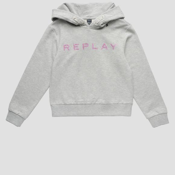 Hoodie with glitter print- REPLAY&SONS SG2089_010_20238_M04_1