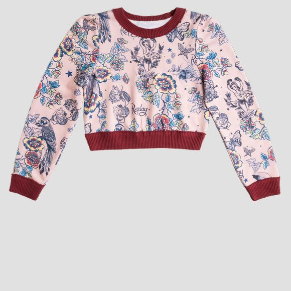 Felpa crop stampa tattoo all-over- REPLAY&SONS SG2103_050_29868KG_010_1