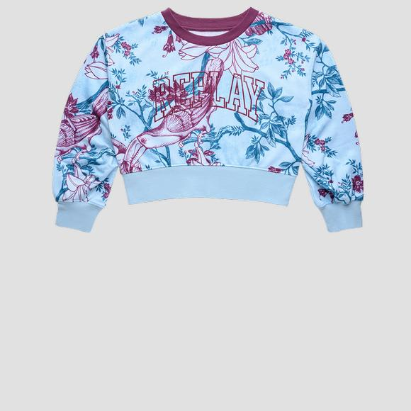 Crop sweatshirt with all-over print- REPLAY&SONS SG2121_050_29868KB_010_1