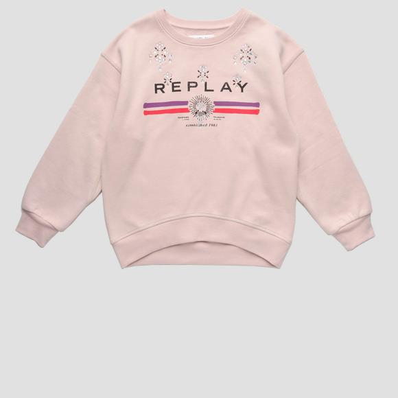 REPLAY sweatshirt with rhinestones- REPLAY&SONS SG2492_050_20225_166_1