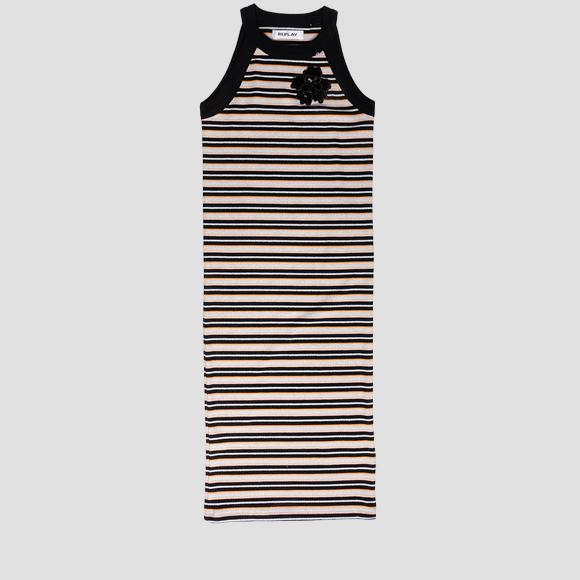 Ribbed striped dress with sequins- REPLAY&SONS SG3211_050_22818_010_1